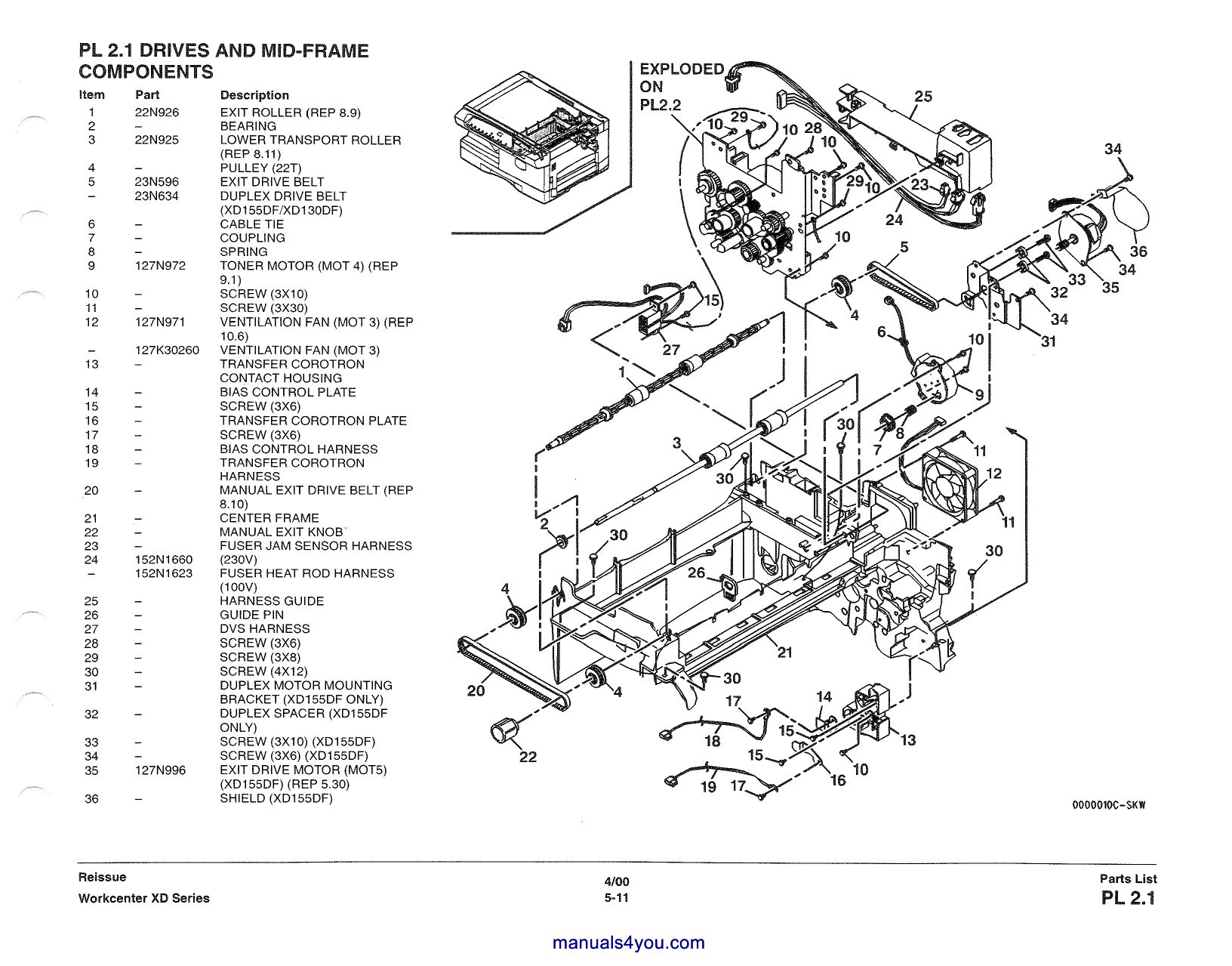 Xerox WorkCentre XD Series Parts List and Service Manual-5